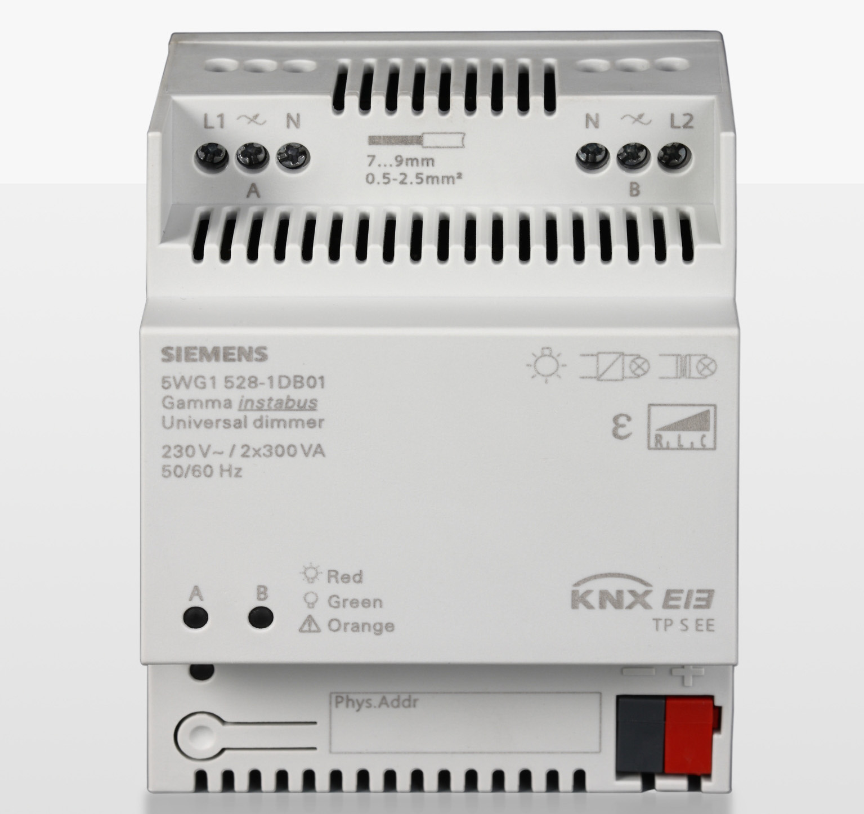 Mit einem neuen Universaldimmer erweitert Siemens das Gamma-instabus-Sortiment um einen leistungsfähigen KNX-Dimmer, der neben anderen dimmbaren Leuchtmitteln insbesondere auch dimmbare LED-Retrofit-Lampen ansteuern kann. Siemens has added a new Universal Dimmer to its Gamma instabus range. In addition to standard dimmable lamps, this high-performance KNX dimmer is able to control dimmable LED retrofit lamps.